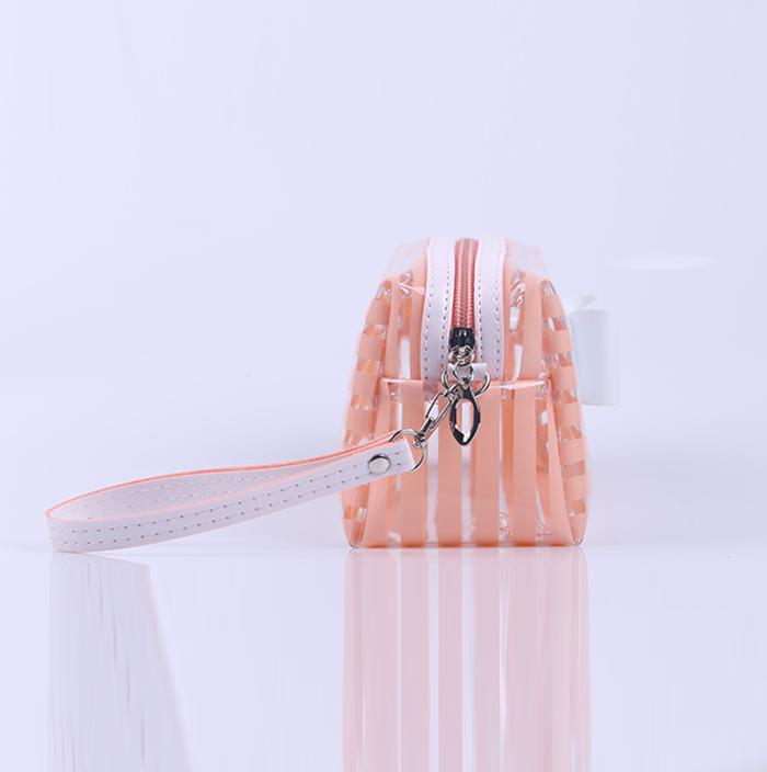 Best Quality Stripe Transparent pvc Wristlet Cosmetic Bag