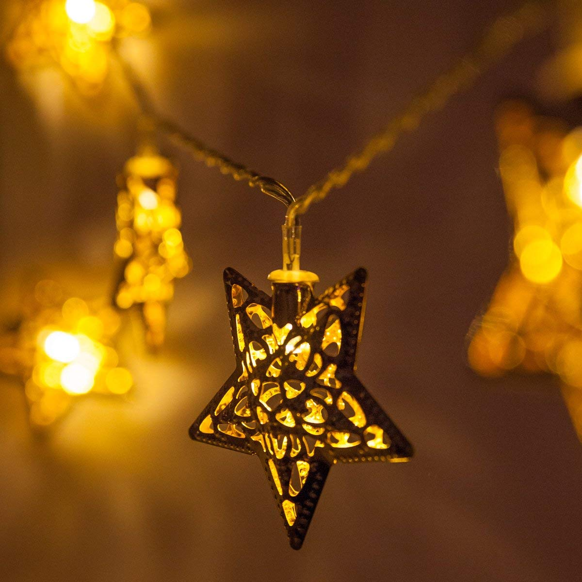 get quotations 6 battery operated metal star led string lightsgolden christmas tree string lights - Christmas Light Necklace Battery Operated