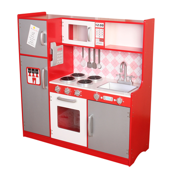 Large Red Wooden Kitchen Toy With Abs Plastic Accessories,Easy Assembly  Wooden Role Play Pretend Play Kitchen - Buy Wooden Kitchen Toy,Kitchen Set  ...