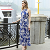 Clothing Factory New Arrival Sleeveless Flora Printed Blue Chiffon Dresses For Women