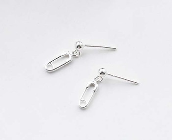 Zooying 925sterling Silver Pin Stud Paper Clip Earring