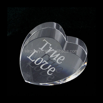 Etched Cristal Glass Heart Paperweight office gift set for Corporate Anniversary Desktop Gifts