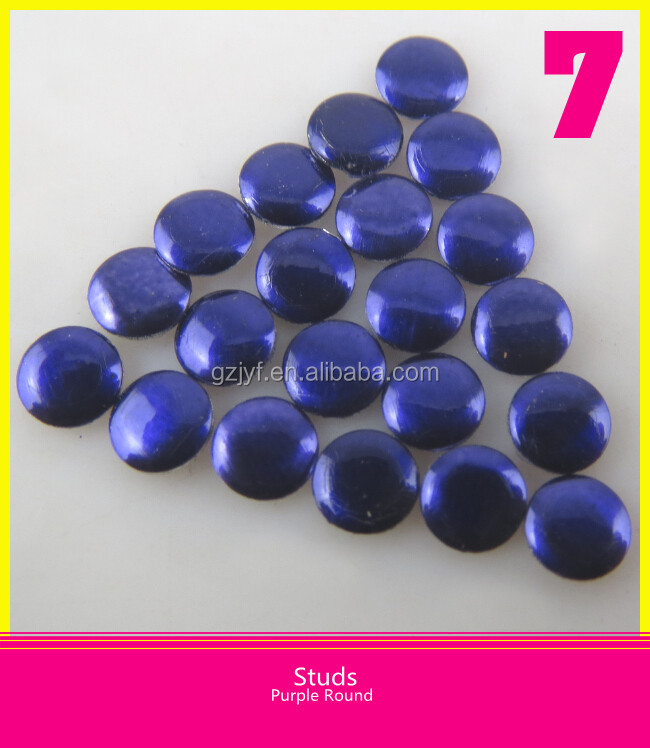 Iron on Aluminum Material Nailhead Round Purple Studs For Clothes