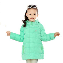 New Brand 2016 Kids Girls Winter Jacket Fashion Lightweight Outwear kids Warm Long Coat Down Parkas