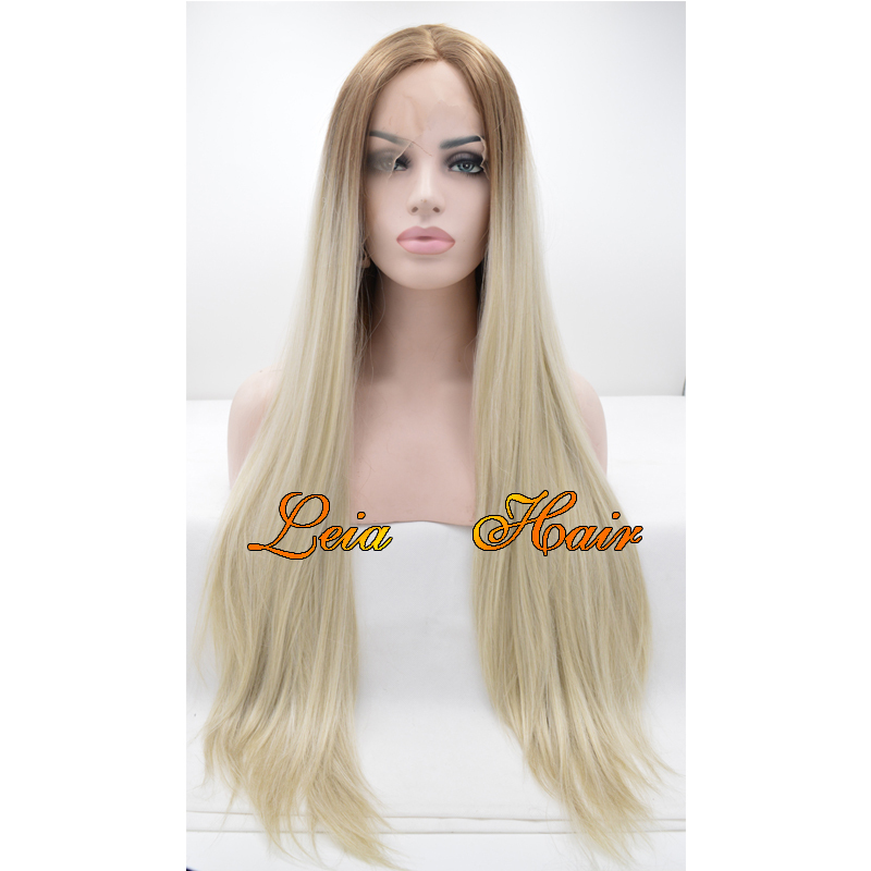 Blonde Wig Straight Synthetic Lace Front Wig Heat Resistant Cheap Kanekalon Hair Glueless Ombre Brown To Blonde Wig For Women