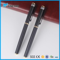 China manufacturer promotional black matte metal roller pen with logo advertising with golden grip pen