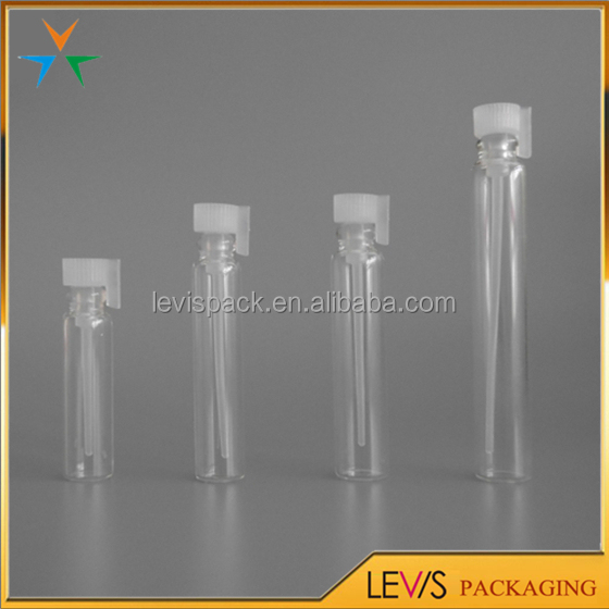 Mini clear glass test perfume sample vials 1ml with stopper