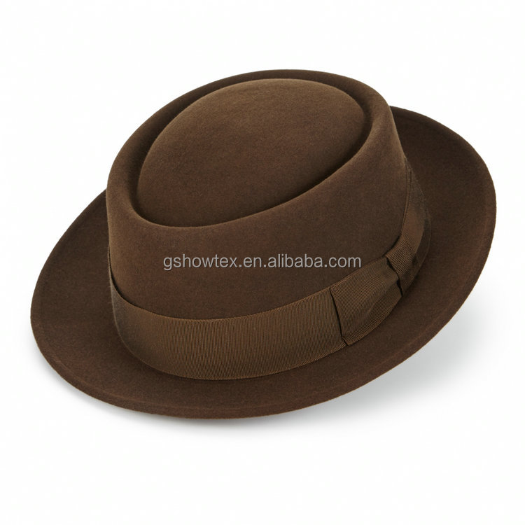 Wool felt roll up brim porkpie hat cheap hat