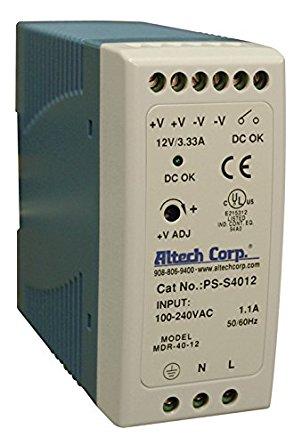 40W SlimLine DIN Rail Power Supply Supply, Single Phase, 85-264VAC/120-370VDC I/p, 12vDC o/p, 3.33A ,3 Year Warranty