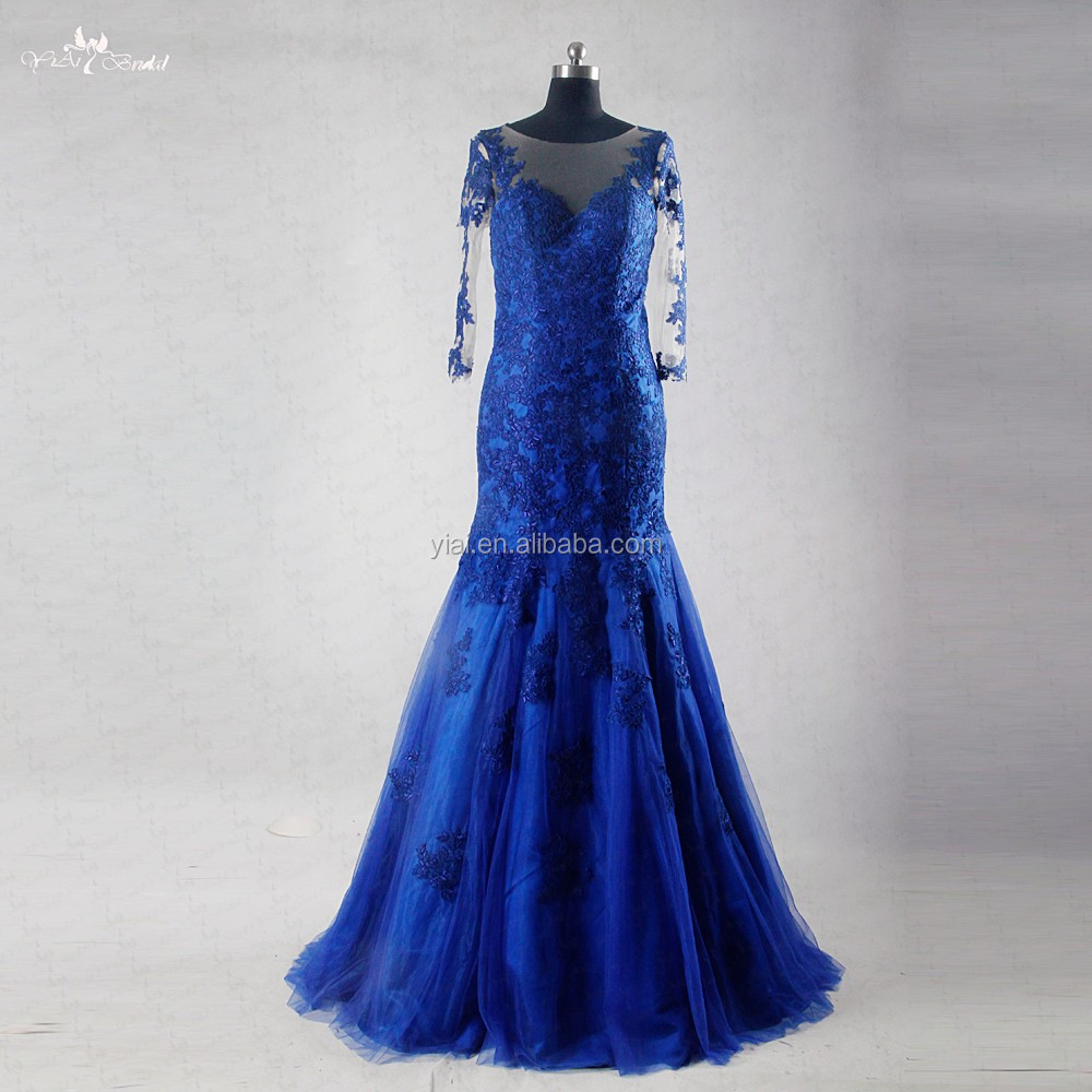 RSE733 Royal Blue Bridesmaid Dress Patterns Lace Mermaid Long Sleeve Maxi Dress