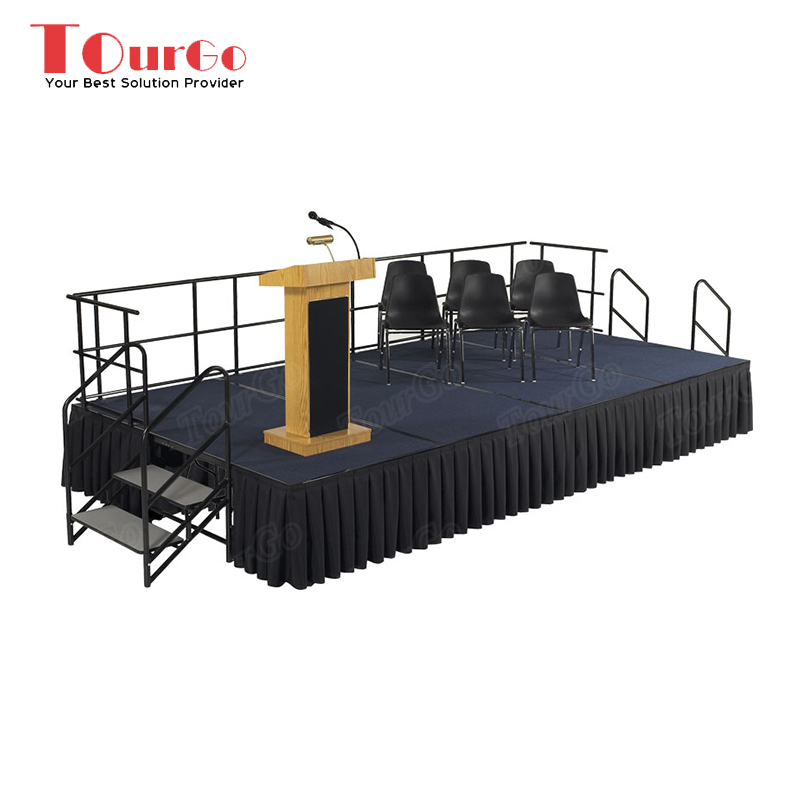 TourGo Easy Assemble Portable 1.83m x 2.44m Folding Stage with Step Stair Suitable for Event / Speech / School Stage