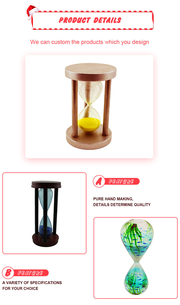 Metal and wood 30 minutes hourglass sand timer