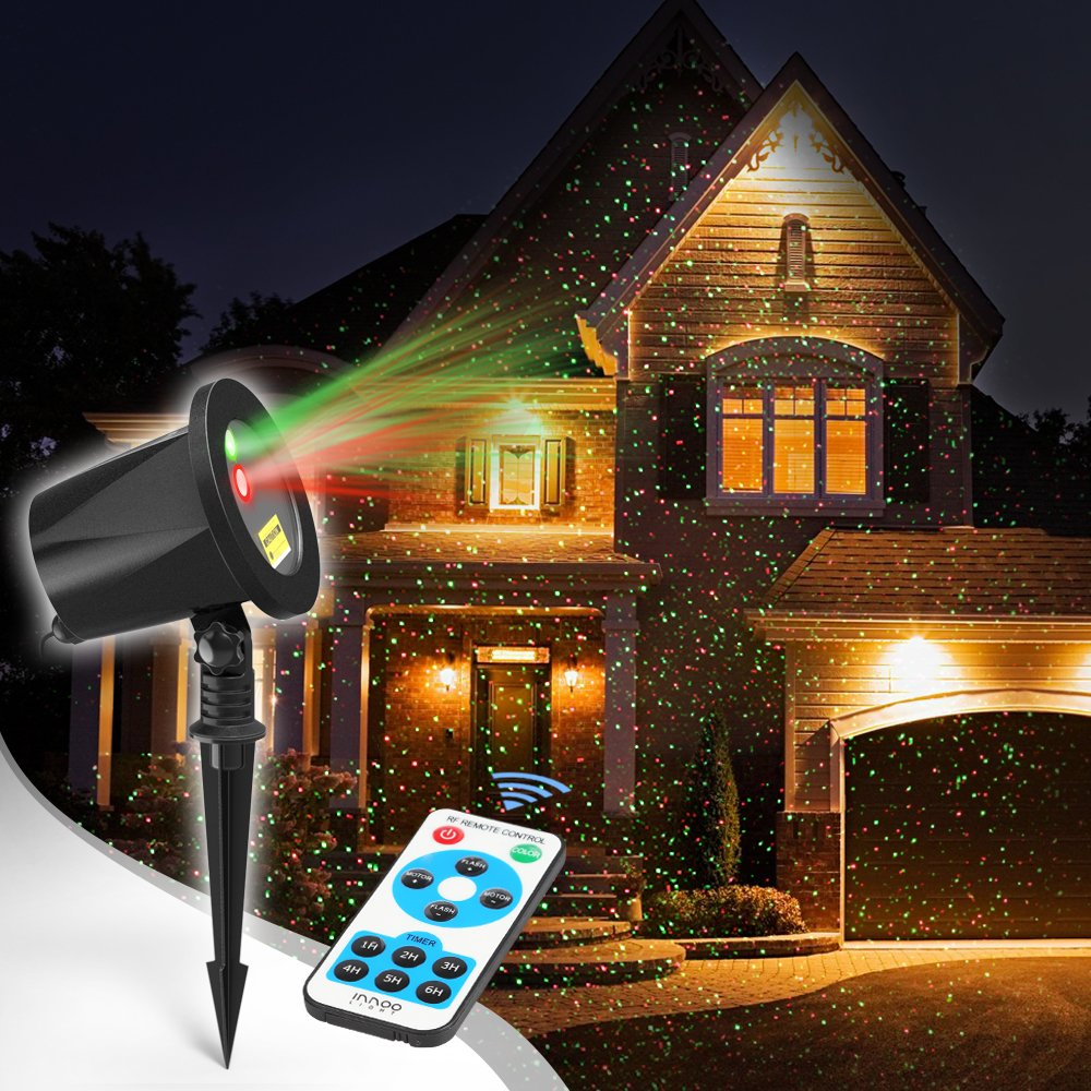 Laser Christmas Lights, InnooLight Outdoor Christmas Laser Lights Show, Red and Green Starry Christmas Lights Projector, Laser Holiday Lights with RF Remote for, Outdoor, Garden, Halloween Decoration