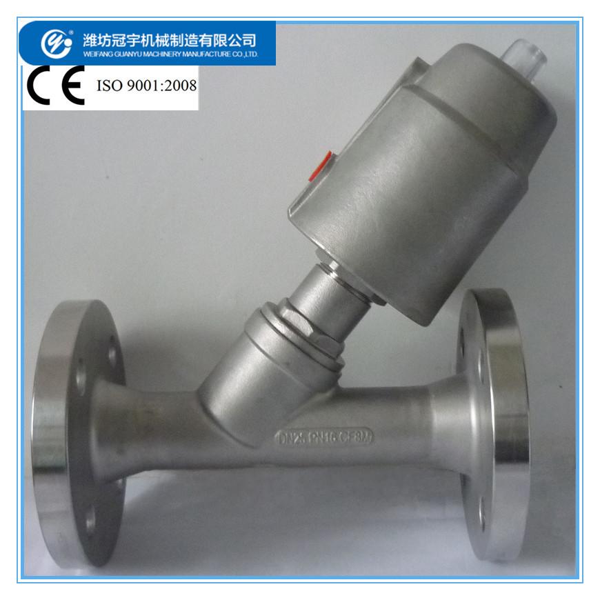 SS304 Flanged Angle Seat Valve DN25 Pneumatic Control For Steam/ Acid,