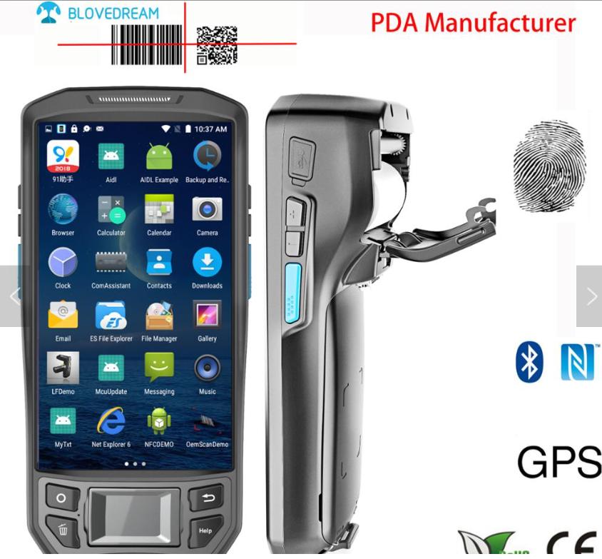 Handheld mobile portable nfc reader pos terminal with printer fingerprint  barcode scanner PDA