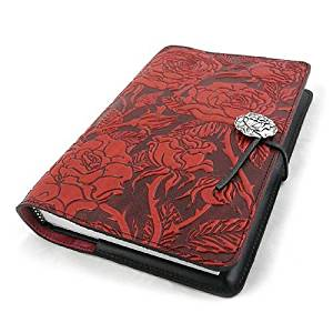 Wild Red Rose Embossed Leather Writing Journal, American Made, 6 x 9-inch + Refillable Hardbound Insert Book