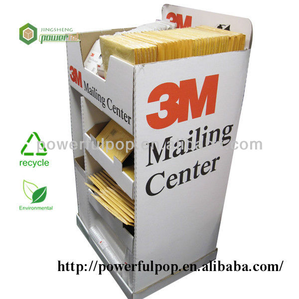 Supply mailing center display cardboard four sided display rack