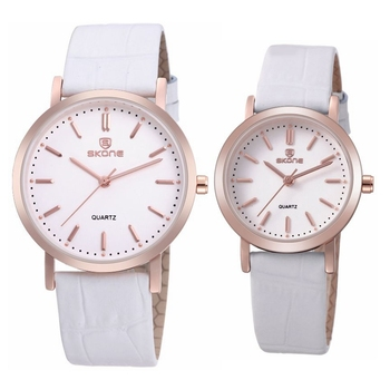 SKONE 9310 Rose Gold Alloy Case White Couple Wristwatches