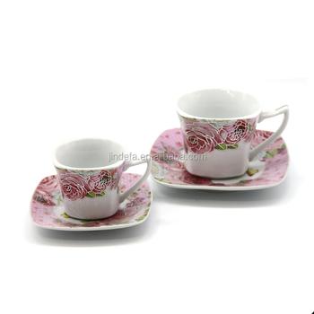 90cc 180cc çiçek Seramik Kare çay Bardak Gül Boyama Ince Seramik