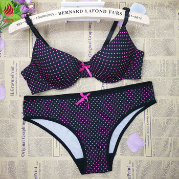 a4c49a9c9a Sexy Underwear Women Breathable Black Pink Dotted Bra Panty Set ...