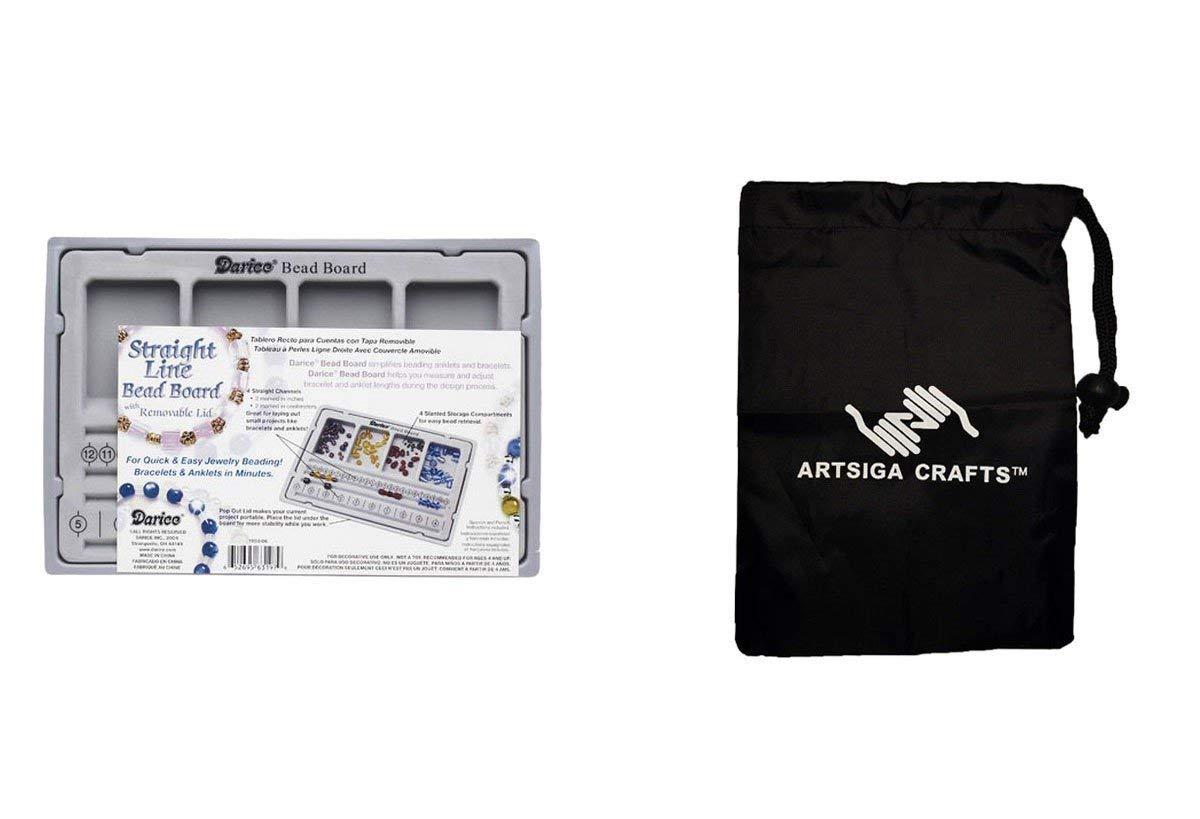 Darice Bead Storage Bead Board w/Lid 10.5 x 7in. (5 Pack) 1902 06 Bundle with 1 Artsiga Crafts Small Bag