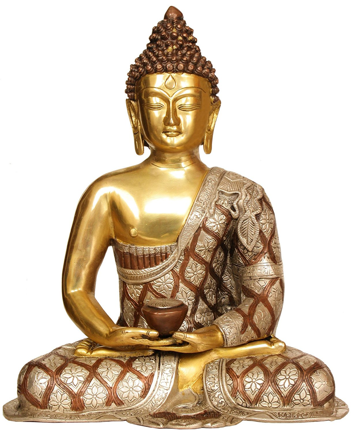 Buy lord buddha in dhyana mudra robes decorated with lotus flowers lord buddha in dhyana mudra robes decorated with lotus flowers brass statue izmirmasajfo