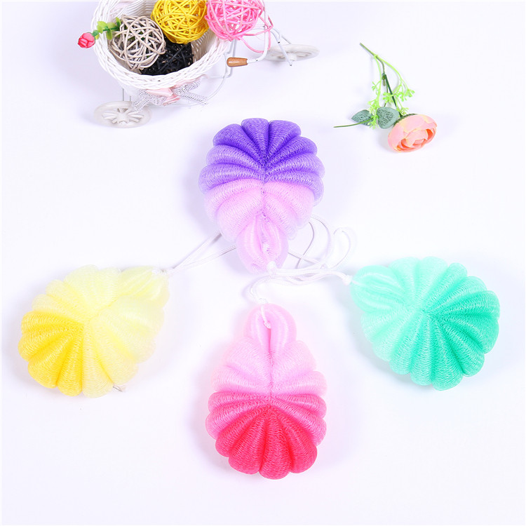 Hotsell fashion bath essential soft mesh shower sponge bath sponge with gradient color in Tortoise shape