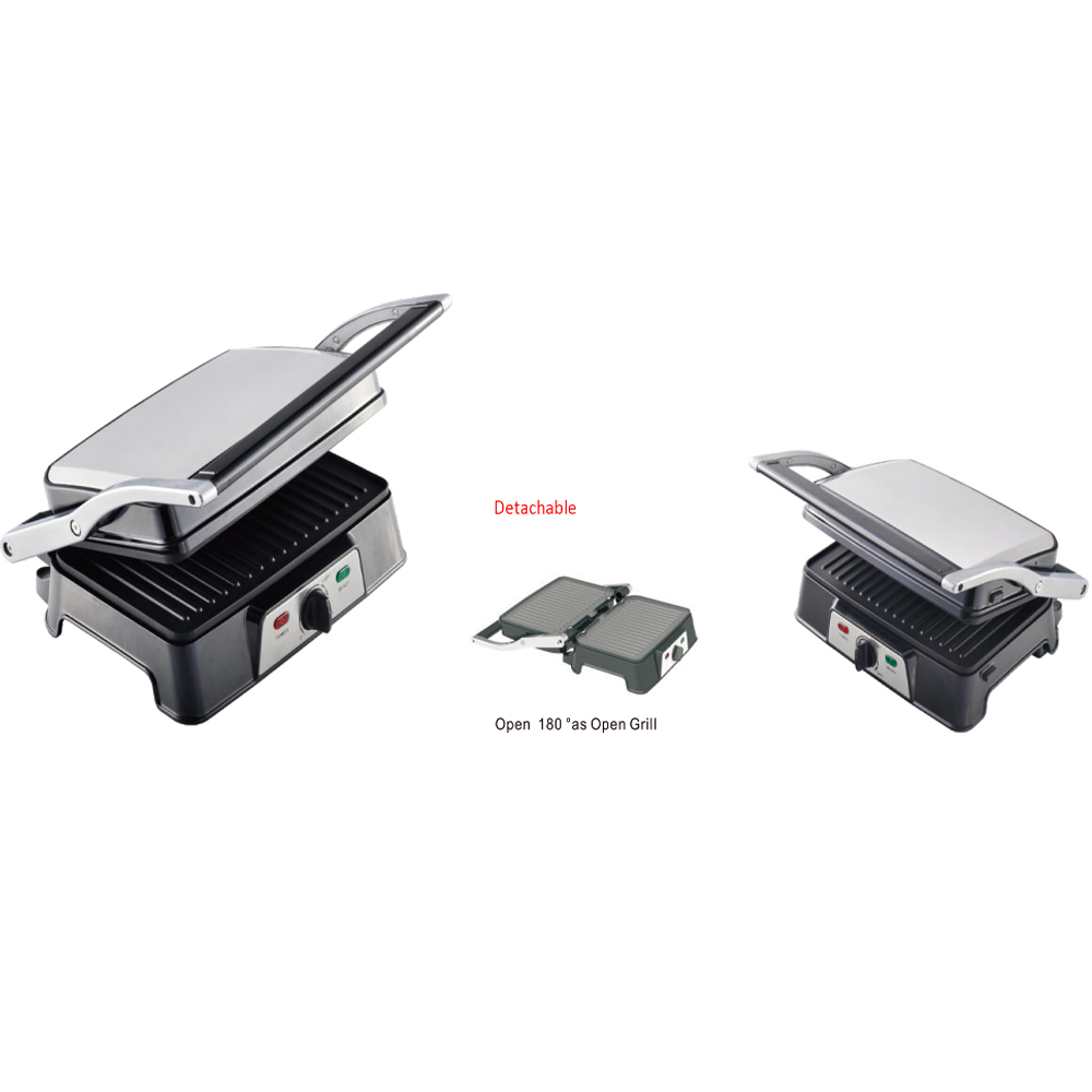 Electric 2-slice detachable grill plates open 180 Panini Grill Contact Grill