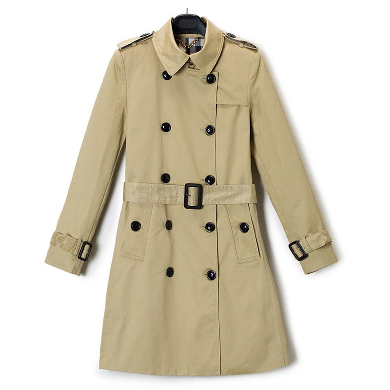 2015 Brand Trench Coat For Women Fashion Slim Suit Collar Double Breasted Long Trench Coats Black Khaki Windbreaker Female N28