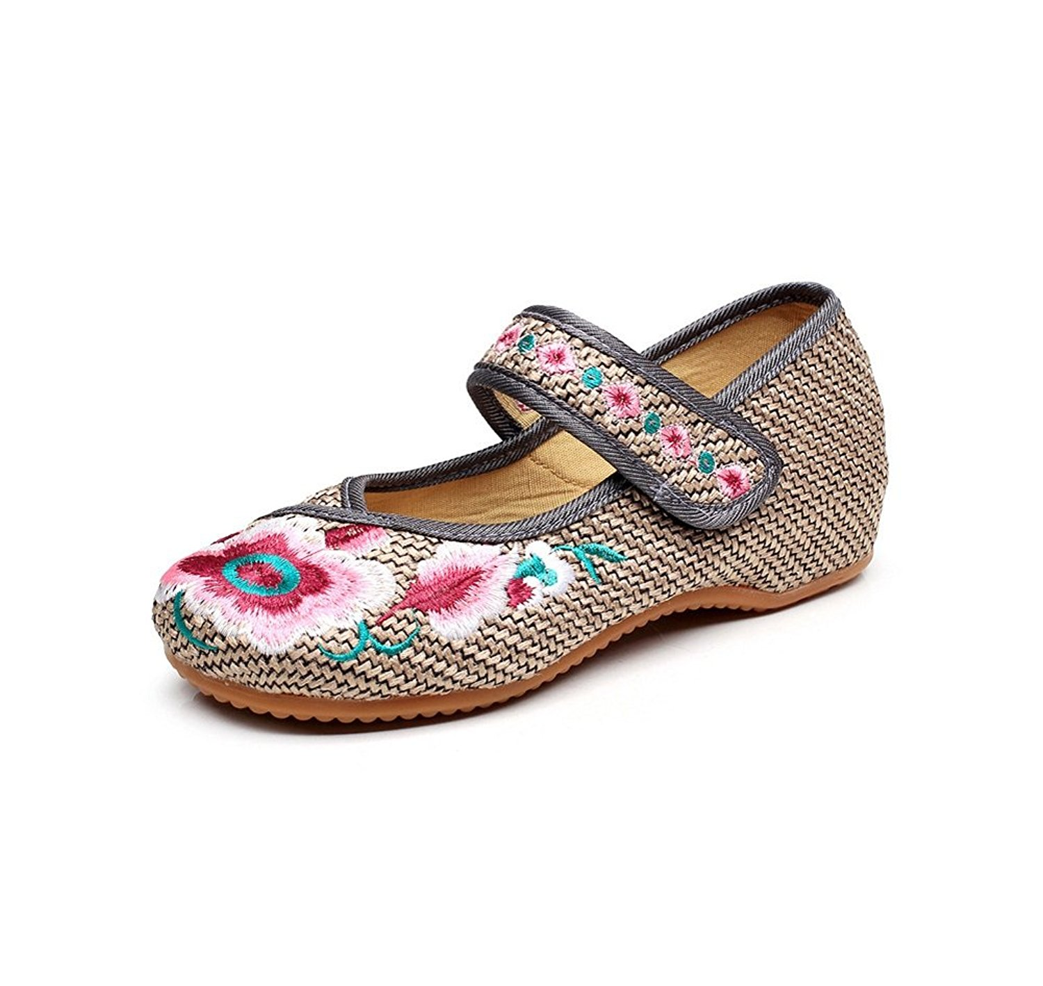f5d3801ed94 Get Quotations · Lazutom Vintage Chinese Style Women Embroidered Shoes Mary  Jane Flat Casual Ladies Mary Jane Qipao Dress