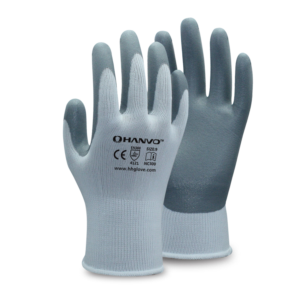 HANVO 13G Nylon liner with breathable Foam Nitrile Coating Glove