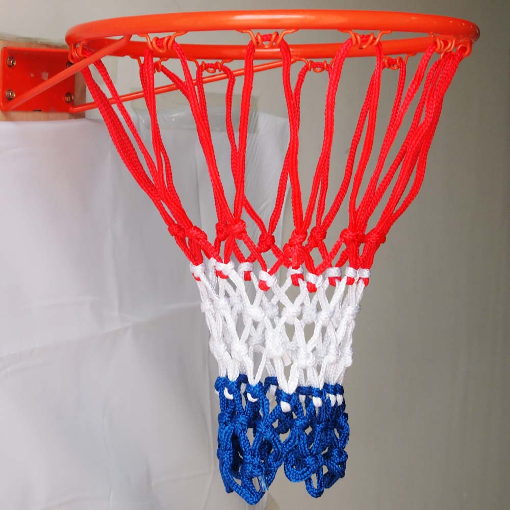12 Loop Nylon Braided Cord Knotted Red Blue White Basketball Net