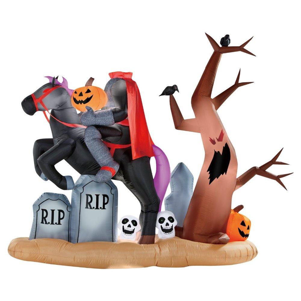 animated headless horseman tombstone ghost tree graveyard decoration