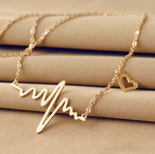 Electrocardiogram pendant necklace,heart shape necklace,women necklace