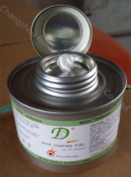 Screw cap wick chafing fuel for hotel supply