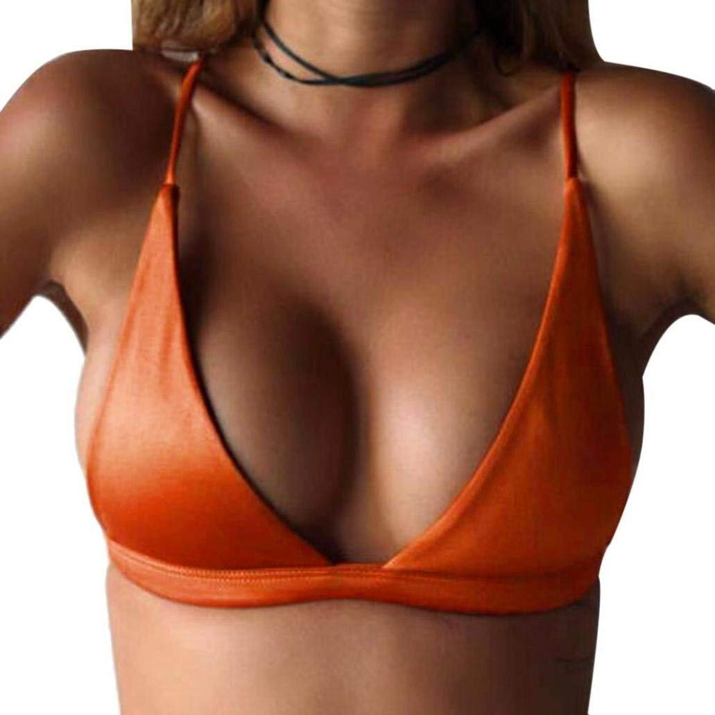 Womens Swimsuits,Bokeley Womens Two Piece Deep V Neck Bikini Push up Padded Bra Women Solid Color Swimwear (Orange, S)