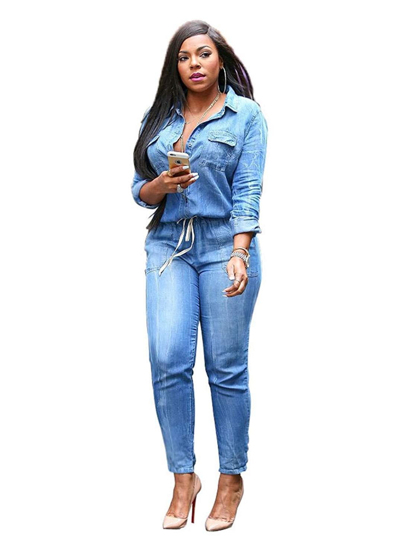 0529e1fb36 Get Quotations · VERTTEE Denim Plain Lapel Lace-Up Bodycon Women Jumpsuit  Bodysuit Jeans Jumpsuit Plus Size Skinny