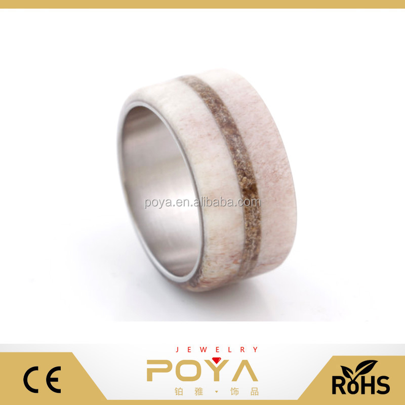 POYA Jewelry New Model Western Style Antler Wedding Rings 12mm Wide Tungsten Antler With Dinny Bone Comfort Fit Wedding Bands