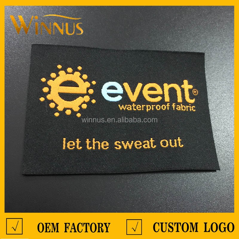 custom own design woven embroidered denim labels for jeans