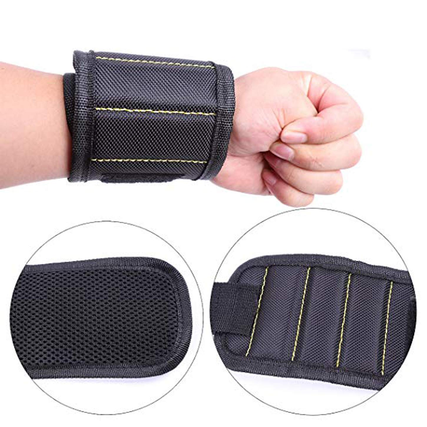 Magnetic Wristband for Holding Tools Screws Nails Bolts Drill Bits and Other Home Improvements, 5 Magnets and Adjustable Breathable Wrist Strap Design, Lightweight&Durable (Black)