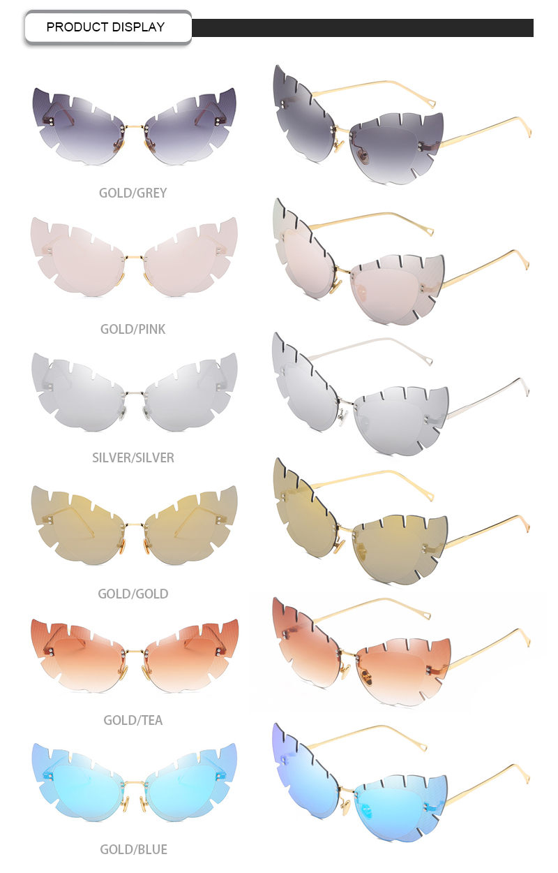 Fashion Laef Shaped Fire Rimless Metal Frame Designer Women Sunglasses