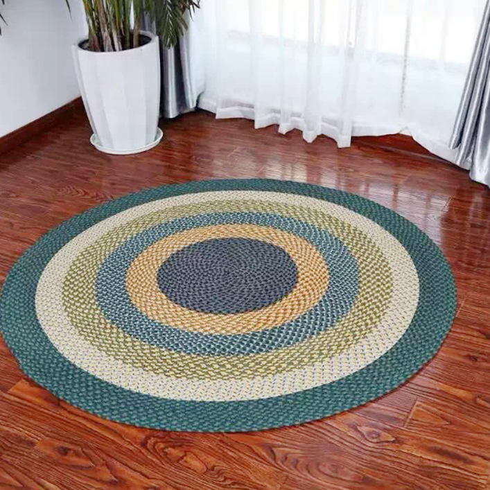 House Rooms Cotton Jute Rugs Hand Made Round Polypropylene Braided Loop Pile Pattern