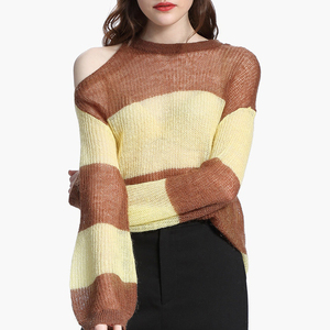 wholesale women one shoulder exposed stripe long sleeve thin mohair sweater