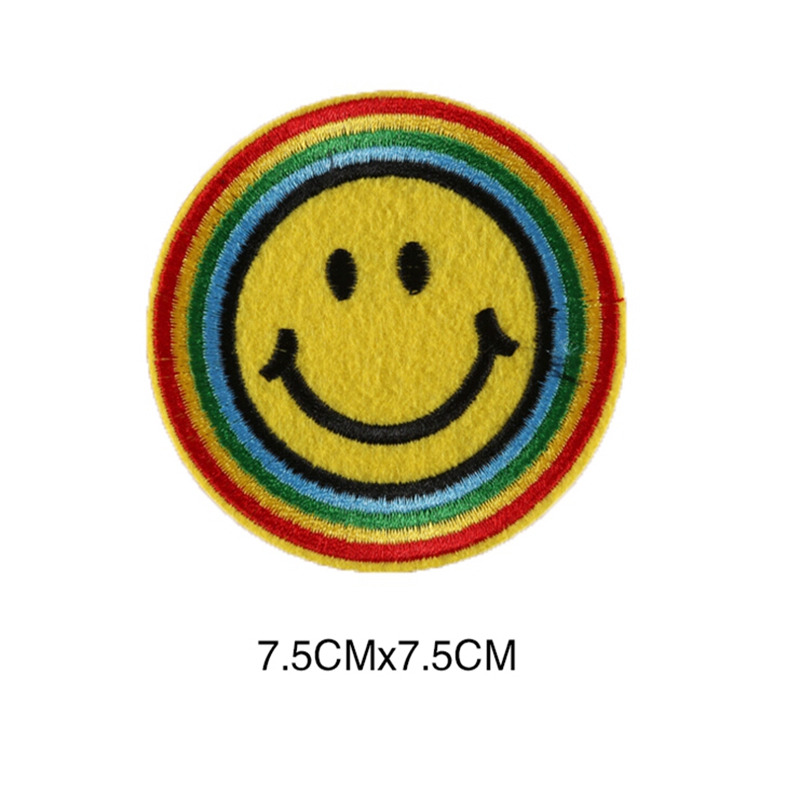 Smile Face Iron On Applique For Cloth Sticker Diy Embroidered Emoji Patch