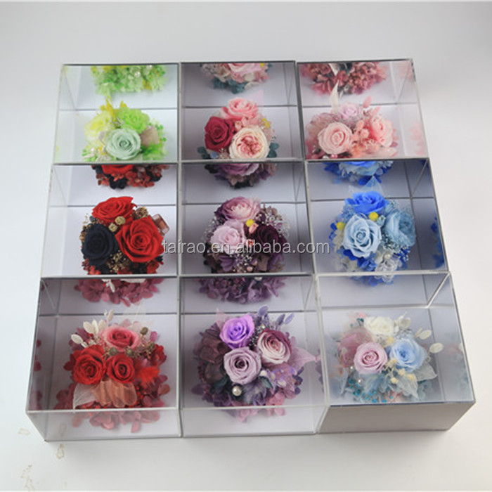 wholesale high quality mirror surface preserved roses in glass