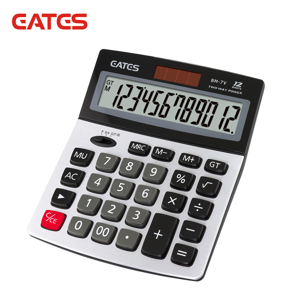 Big Display Solar Power 12 Digits Metal Plate Office Electronic Calculator