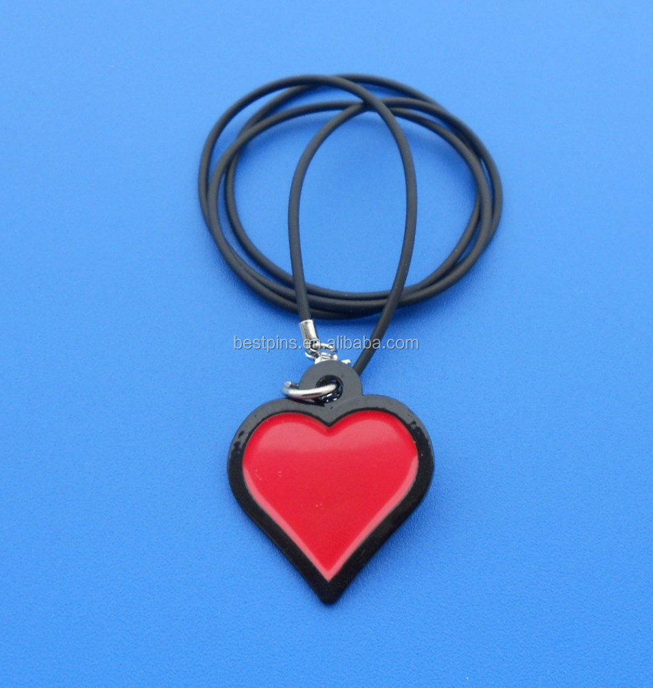 red heart children favor neck charm hanging tag