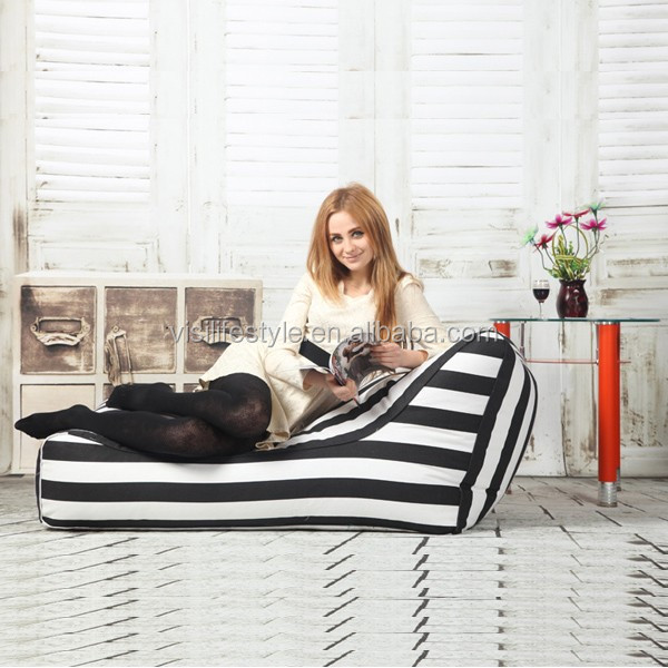 VISI Beanbag Recliner Single New Creative Tatami Single Folding Chair Recliner Blak/white Stripe Sofa Bed For Gaming Reading