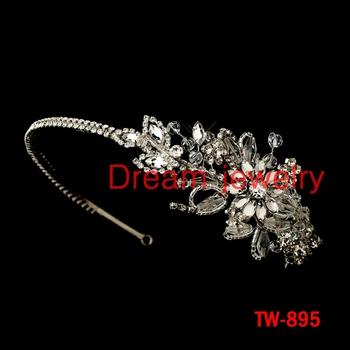 crystal flower side tiaras fashion jewelry wholesale tiara crown