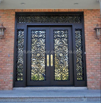2016 Moden Square Top Double Iron Door With Sidelights With Beautiful Scroll  Work And Glasses Window